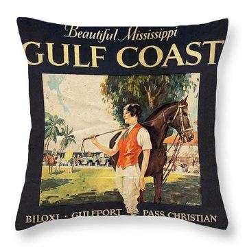 Gulf Coast - Illinois Central - Vintage Poster Vintagelized Throw Pillow