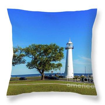 Gulf Coast Lighthouse Seascape Biloxi Ms 3663b Throw Pillow