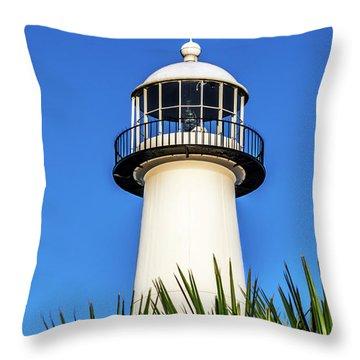 Gulf Coast Lighthouse Seascape Biloxi Ms 3819a Throw Pillow
