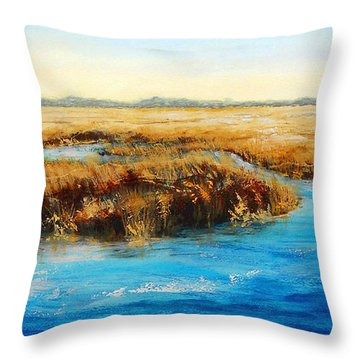 Gulf Coast Marsh I Original Fine Art Painting Throw Pillow