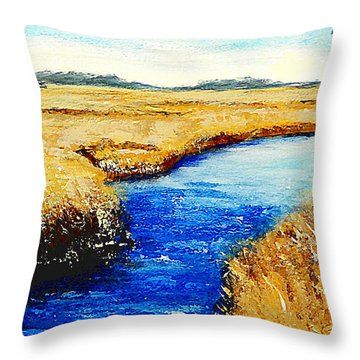 Gulf Coast Marsh II Detail Original Fine Art Painting Throw Pillow