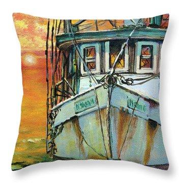 Gulf Coast Shrimper Throw Pillow