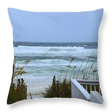 Gulf Coast Waves Throw Pillow by Debra Forand