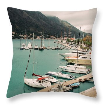 Gulf Of Kotor Throw Pillow