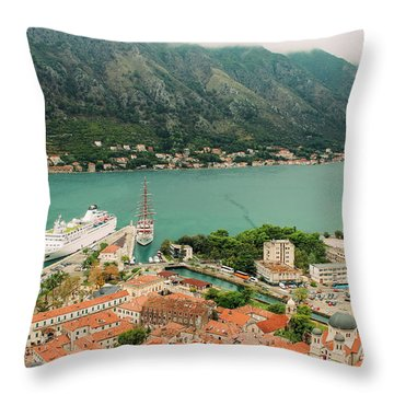 Gulf Of Kotor With Cruise Liner Throw Pillow