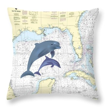 Gulf Of Mexico Nautical Throw Pillow