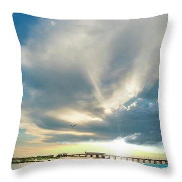 Gulf Shores Al Pier Seascape Sunrise 152a Throw Pillow