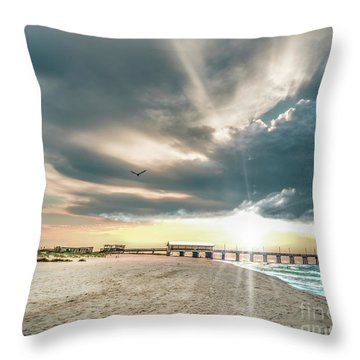 Gulf Shores Al Pier Seascape Sunrise 152c Throw Pillow