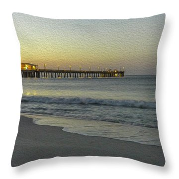 Gulf Shores Alabama Fishing Pier Digital Painting A82518 Throw Pillow