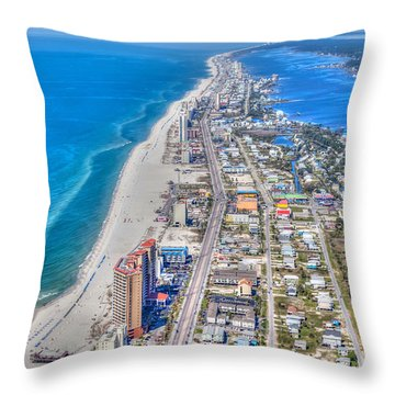 Gulf Shores Beach Looking W Throw Pillow