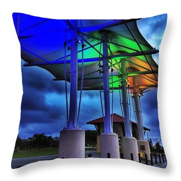Gulfport Harbor  Throw Pillow by Joan McCool