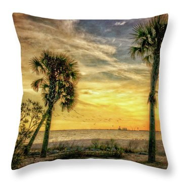 Gulfport Sunset Throw Pillow