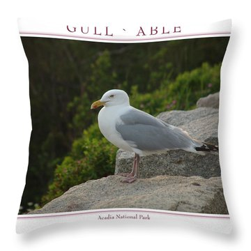 Gull Able Throw Pillow by Peter Muzyka