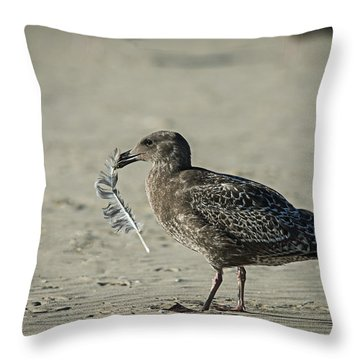 Gull And Feather Throw Pillow