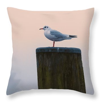 Gull And Fog Throw Pillow