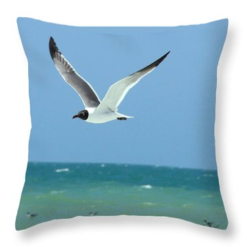 Gull And Girl Throw Pillow