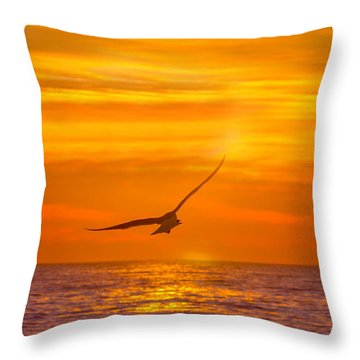 Gull At Sunrise Throw Pillow by Allan Levin