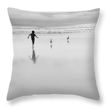 Throw Pillow featuring the photograph Gull Chasing 101 by Lora Lee Chapman