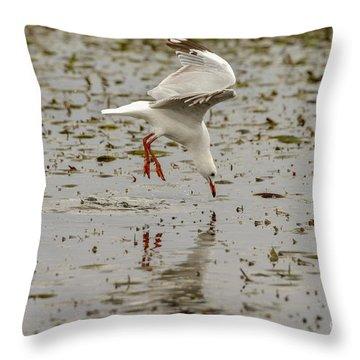 Gull Fishing 01 Throw Pillow