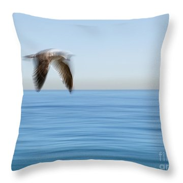 Gull In Flight Wing Motion Blur Photo Throw Pillow