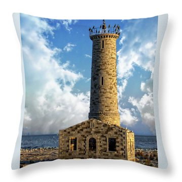 Gull Island Lighthouse Throw Pillow