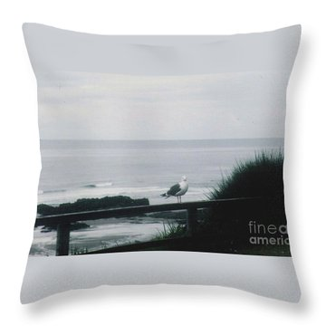 Throw Pillow featuring the photograph Gull On A Rail by Charles Robinson
