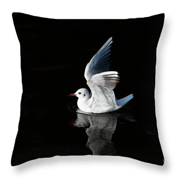 Gull On The Water Throw Pillow by Michal Boubin