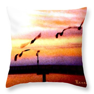 Throw Pillow featuring the photograph Gull Play by Sadie Reneau