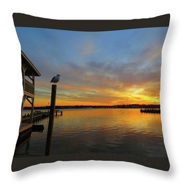 Throw Pillow featuring the photograph Gull Sunset by Linda Henne