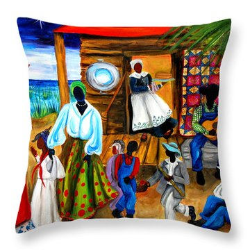 Throw Pillow featuring the painting Gullah Christmas by Diane Britton Dunham