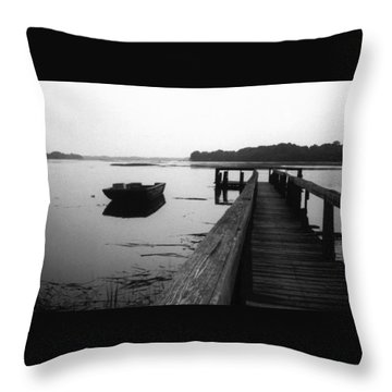 Gullah Coast Bateau Bw Throw Pillow