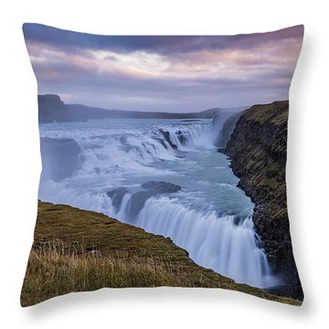 Throw Pillow featuring the photograph Gullfoss, Sunrise by James Billings