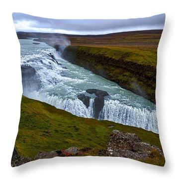 Gullfoss Waterfall #2 - Iceland Throw Pillow