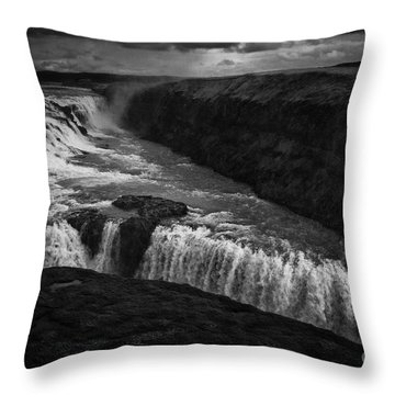 Gullfoss Waterfall Throw Pillow