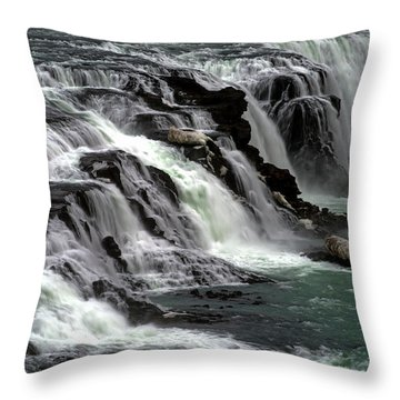 Gullfoss Waterfalls, Iceland Throw Pillow