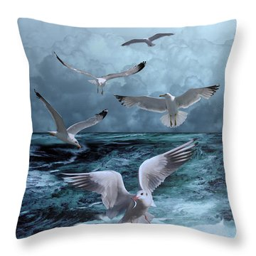 Gulls' Banquet Throw Pillow