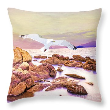 Gulls Glide Throw Pillow