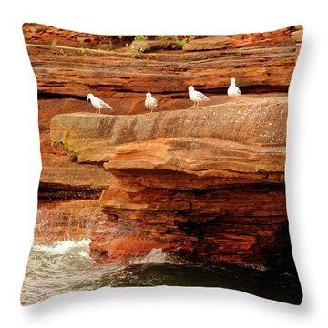 Gulls On Outcropping Throw Pillow