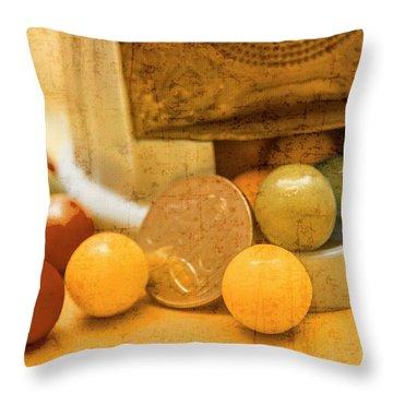 Gumballs Dispenser Antiques Throw Pillow