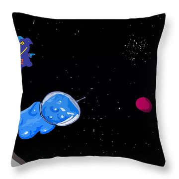 Gummy Bear In Space With Alien Throw Pillow by Jera Sky