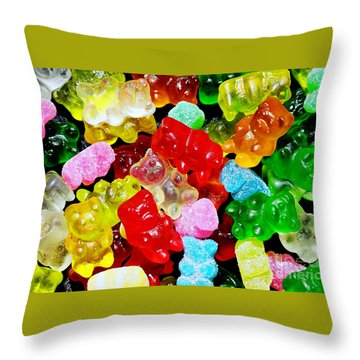 Gummy Bears Throw Pillow by Vivian Krug Cotton