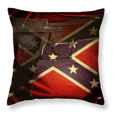 Gun And Flag Throw Pillow by Les Cunliffe