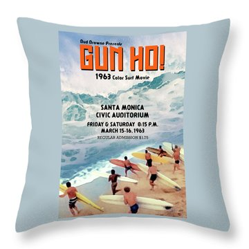 Gun Ho Vintage Surfing Poster Throw Pillow