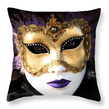 Gunilla Maria's Purple Feathers Throw Pillow