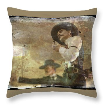 Gunslinger II Doc Holliday Throw Pillow by Toni Hopper