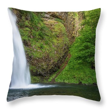 Throw Pillow featuring the photograph Gushing Horsetail Falls by Greg Nyquist