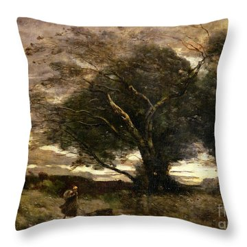 Gust Of Wind Throw Pillow by Jean Baptiste Camille Corot
