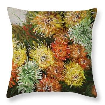 Gusty Chrysanthemums Throw Pillow