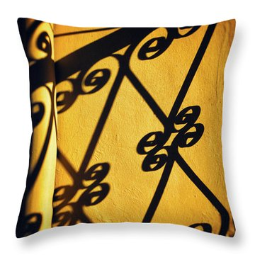 Throw Pillow featuring the photograph Gutter And Ornate Shadows by Silvia Ganora