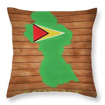 Guyana Rustic Map On Wood Throw Pillow